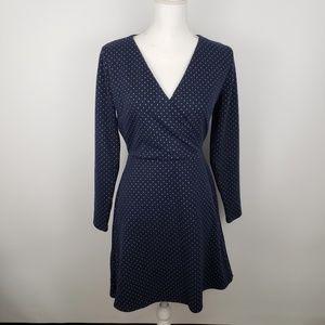 LOFT sz 6 P petite geo jacquard knit wrap dress